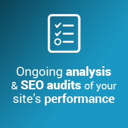Our SEO solutions include ongoing website analysis and SEO audits of your site's performance